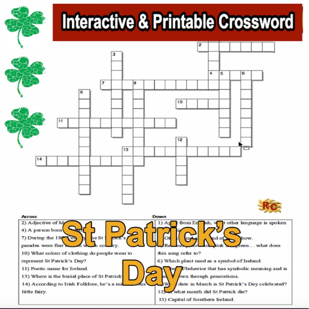 Image of Seasonal Products by R&C  St Patrick's Day Crossword Puzzle G5-9