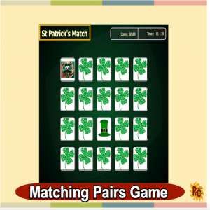 Image of Seasonal Products by R&C  St Patrick's Day Matching Pairs Game G1-4