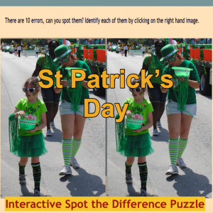 Image of Seasonal Products by R&C  St Patrick's Day Spot the Difference Puzzle G5-9
