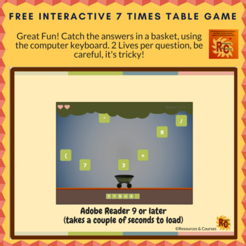 Image freebies times table game sample