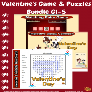 Image of Seasonal Products by R&C  Valentine's Games & Puzzles Bundle G1-5