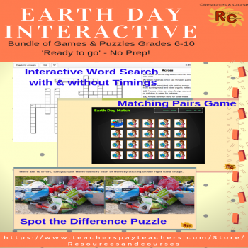 Image of Seasonal Products by R&C  Earth Day Game & Puzzles Bundle G6-10