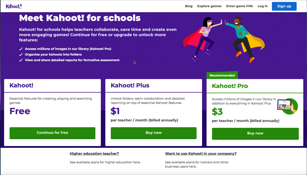 Image displaying the different prices of Kahoot subscriptions,