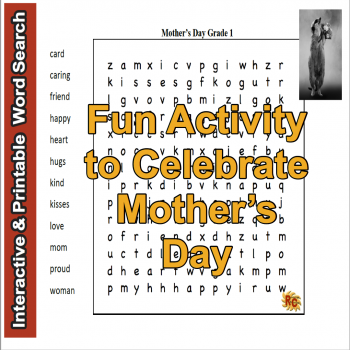 Image of Seasonal Products by R&C  Mother's Day lower case Word Search Puzzle G1