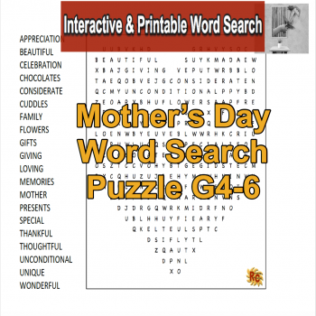 Image of Seasonal Products by R&C  Mother's Day Word Search Heart Puzzle G4-6
