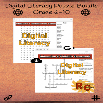 Image of Seasonal Products by R&C  Back to School Digital Literacy Puzzle Bundle G6-10