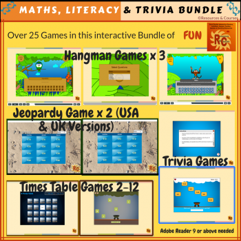 Image of Seasonal Products by R&C  Back to School Maths, Literacy & Trivia Bundle G6-10