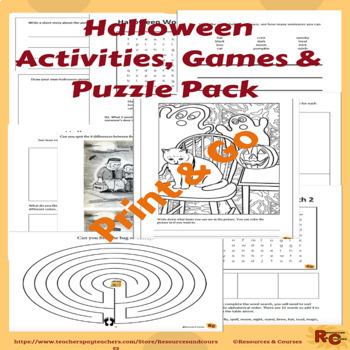 Image of Seasonal Products by R&C  Halloween Activities & Games Puzzle Pack G1-3