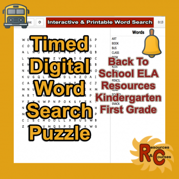 Image of Seasonal Products by R&C  Back to School Word Search Puzzle Kindergarten & First Grade
