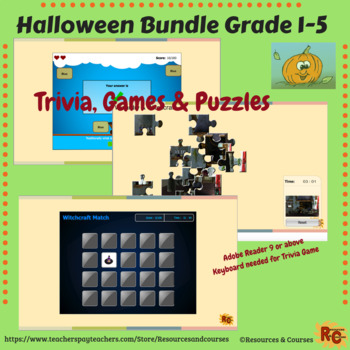 Image of Seasonal Products by R&C  Halloween Games & Puzzle Bundle for Grade 1-5