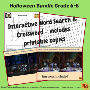 Image of Seasonal Products by R&C  Halloween Puzzles Bundle  for Grade 6-8