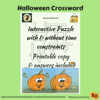 Image of Seasonal Products by R&C  Halloween Crossword Puzzle for Grade 6-8