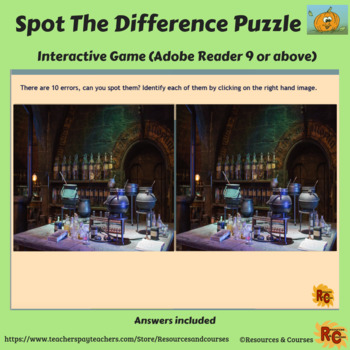 Image of Seasonal Products by R&C  Halloween Spot the Difference Puzzle for Grade 6-8