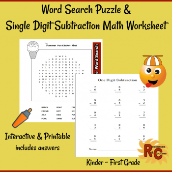 Image of Seasonal Products by R&C  Word Search Puzzle & Math Worksheet for Kindergarten to First  Grade