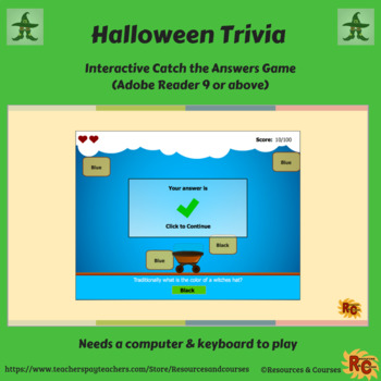 Image of Seasonal Products by R&C  Halloween Trivia Game for Grade 1-5